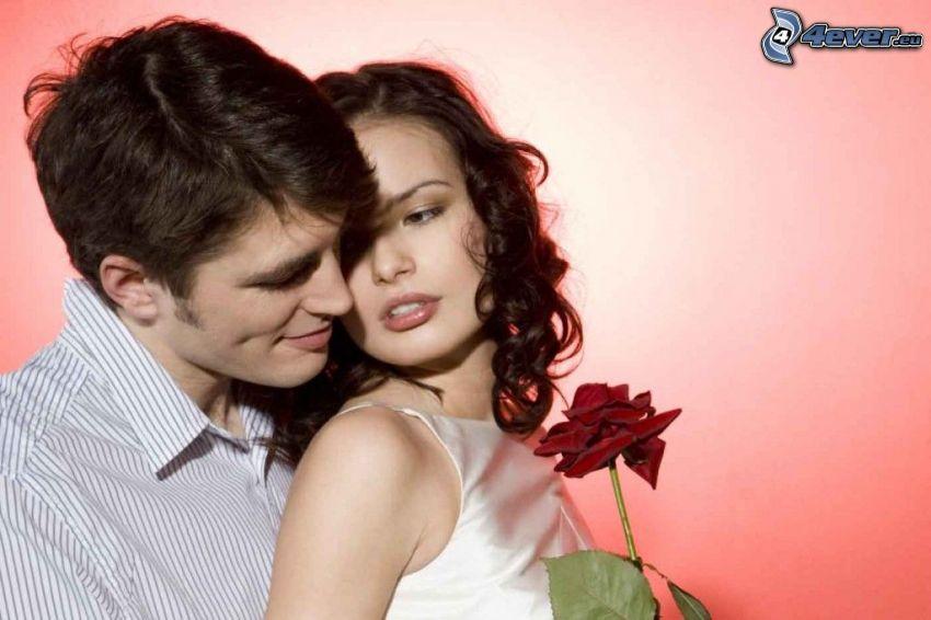 párik, muž a žena, červená ruža, láska, romantika