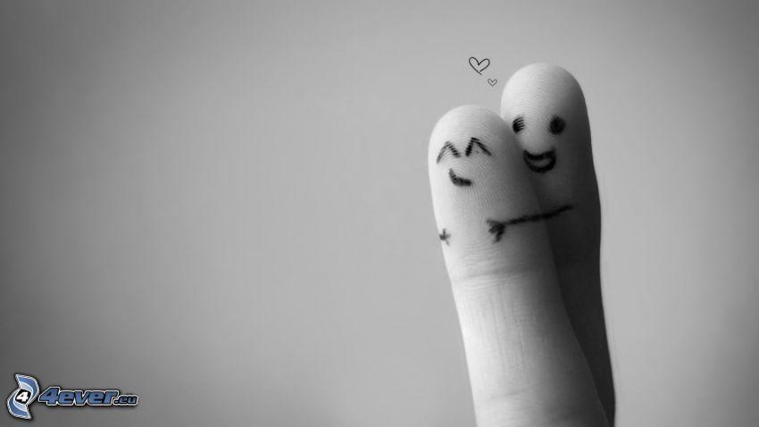 zaľúbené prsty, objatie