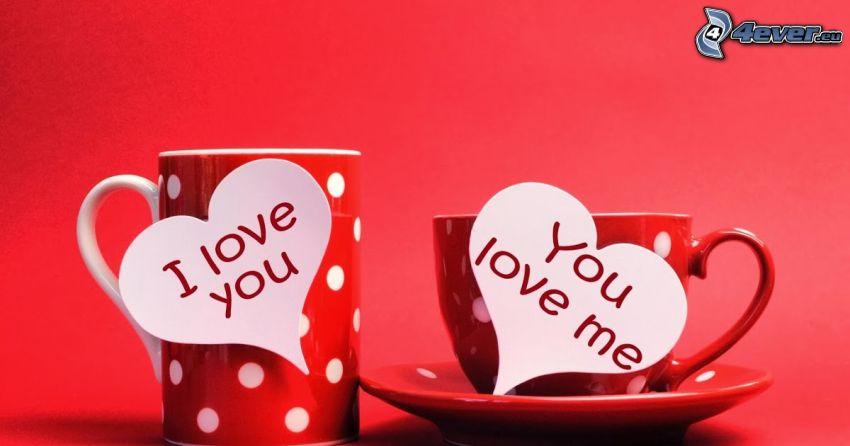 poháre, I love you, červené pozadie