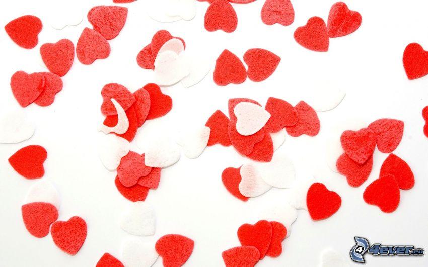 červené srdiečka, papierové srdce