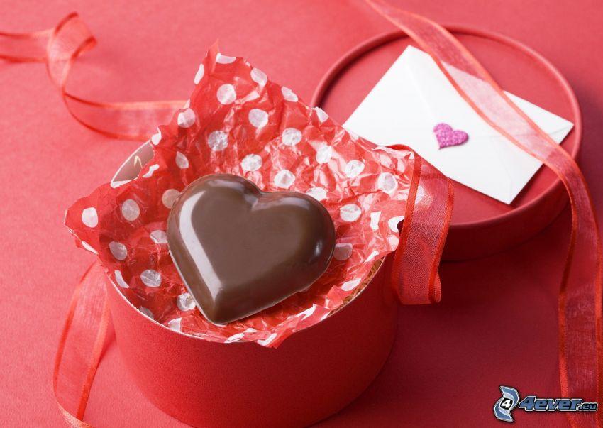 čokoládové srdce, krabica