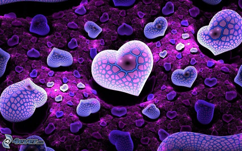 fialové srdiečka, digital art