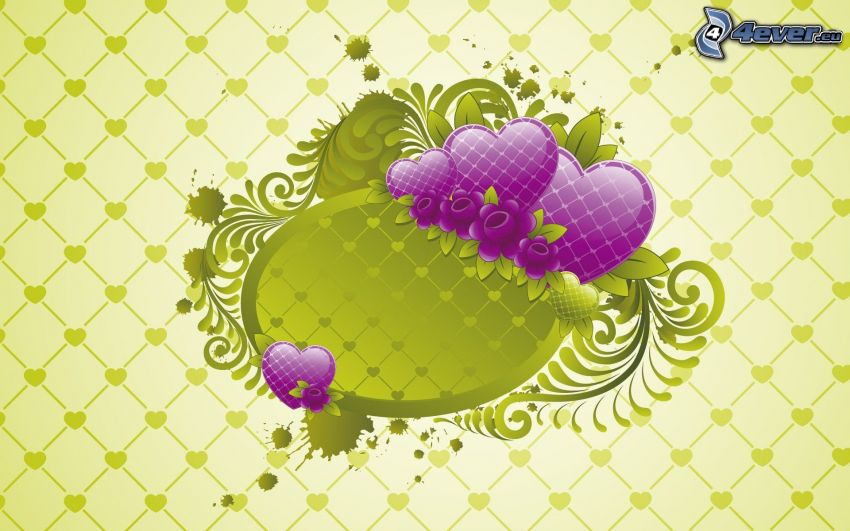 fialové srdiečka