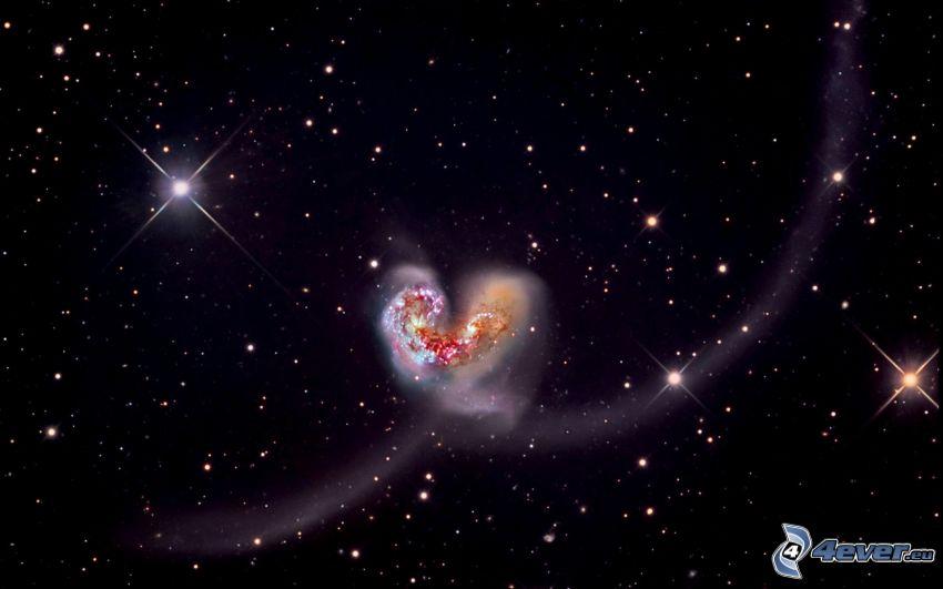galaxie, srdiečko, hviezdy