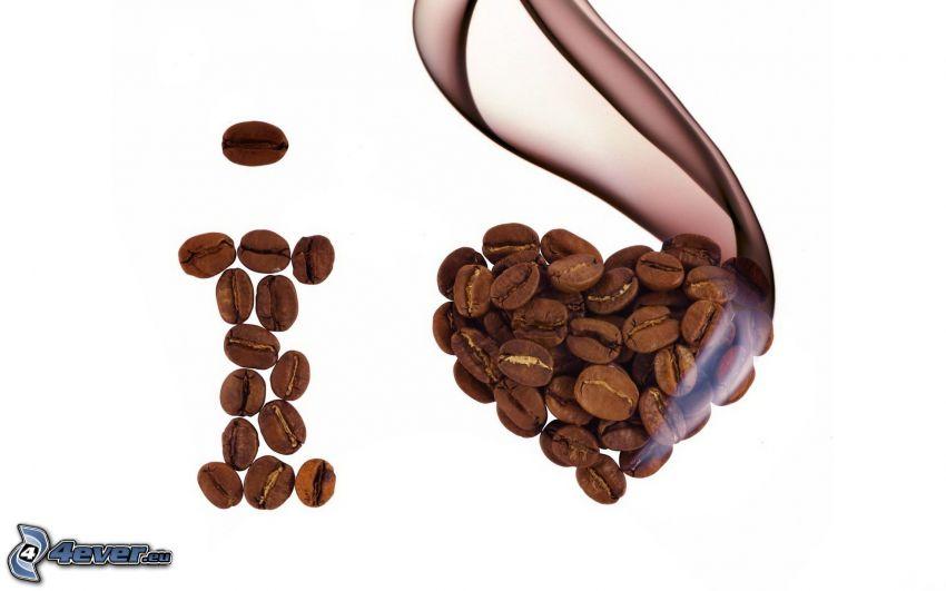 kávové zrná, srdiečko