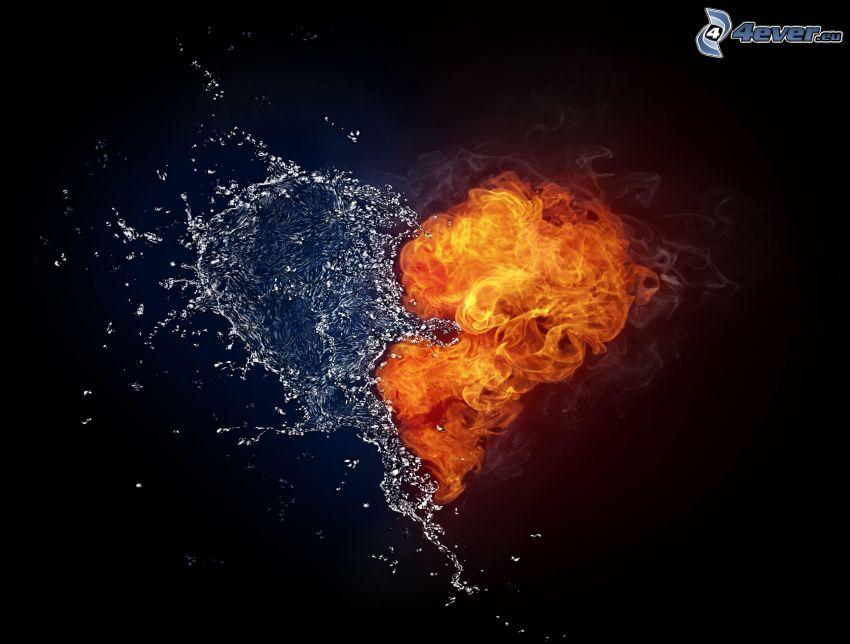oheň a voda, srdce