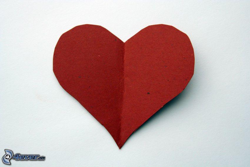 papierové srdce, červené srdiečko