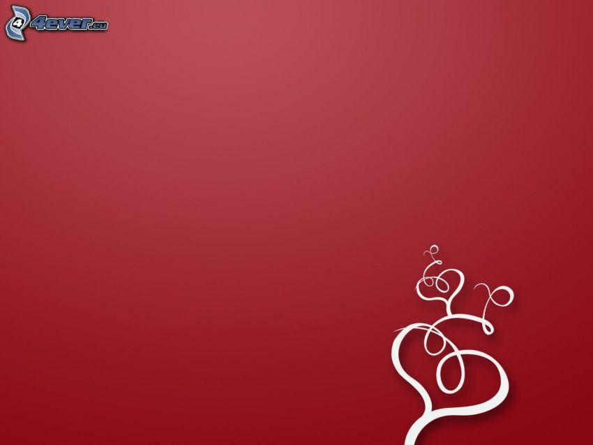srdiečka, biele čiary, červené pozadie