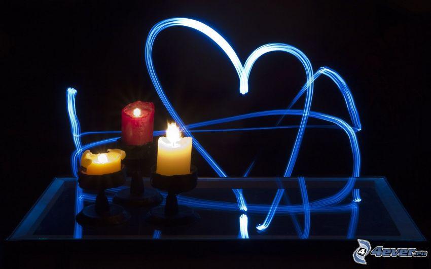 sviečky, modré srdiečka, lightpainting
