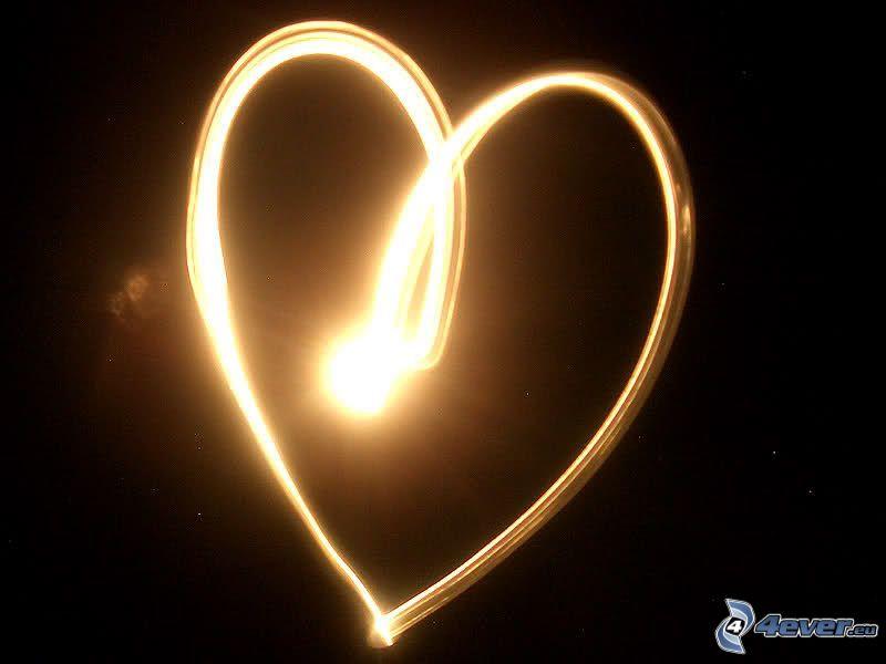 žiarivé srdce, lightpainting