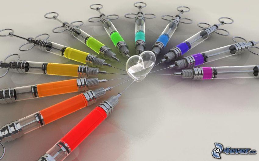 striekačky, injekcia, srdiečko, farebné