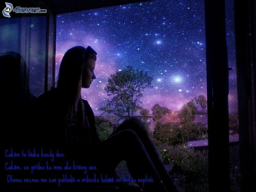 čakanie, láska, zasnené dievča, okno, hviezdna obloha