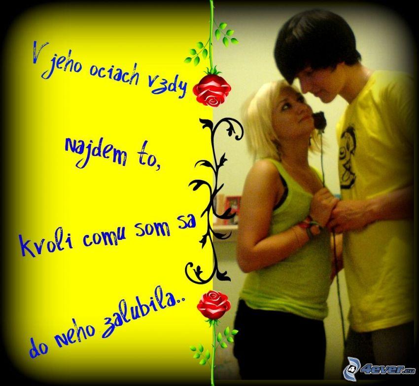 chlapec a dievča, oči, ruža, párik