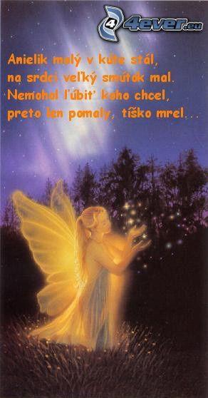 kreslený anjel, svetlo, text