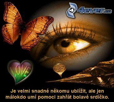 láska, srdiečko, motýľ, oko, bolesť