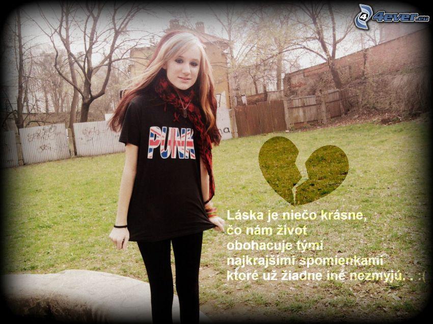 láska, zlomené srdce, dievča, záhrada