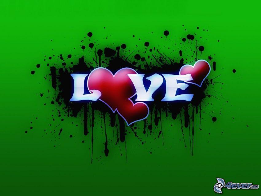 love, srdiečka, škvrna