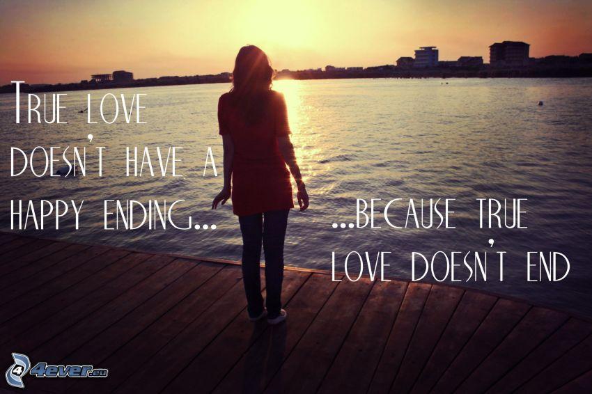 pravá láska, dievča, drevené mólo, rieka