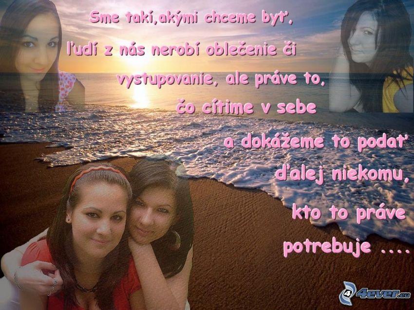 priateľstvo, dievčatá, pobrežie, more, text