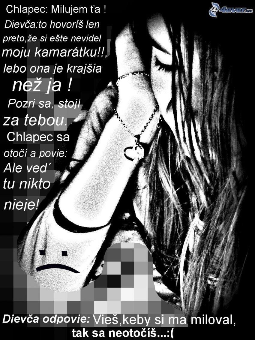 smutné dievča, text