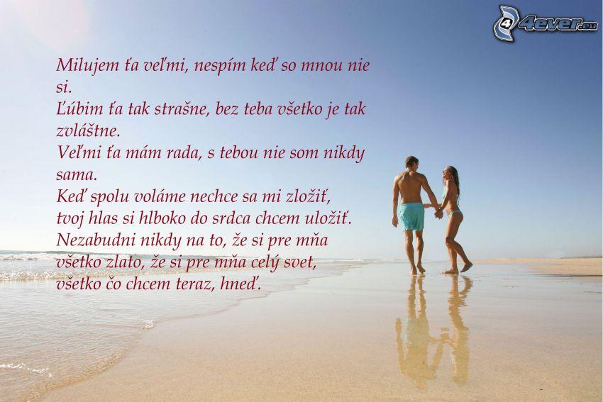 text o láske, párik na pláži, piesočná pláž, more