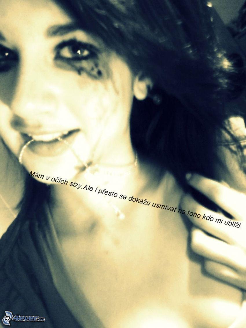uplakané dievča, slzy, smútok