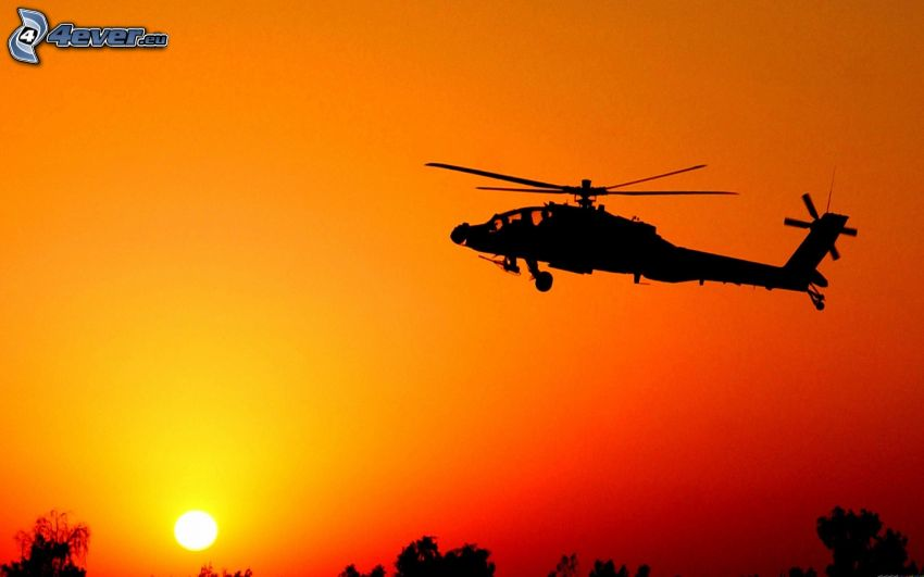 AH-64 Apache, silueta vrtuľníku, západ slnka, oranžová obloha