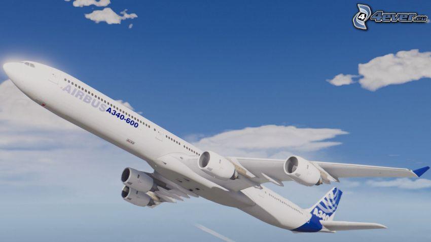 Airbus A340, vzlet, oblaky
