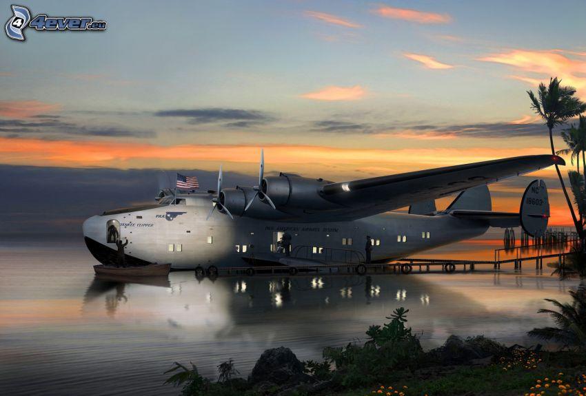 Boeing 314a, prístav na jazere, po západe slnka