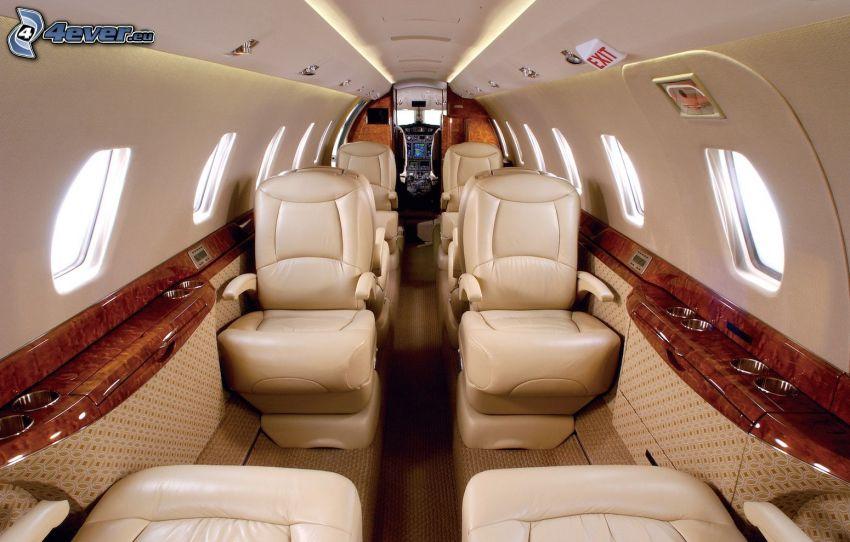 Citation X - Cessna, interiér, kreslá
