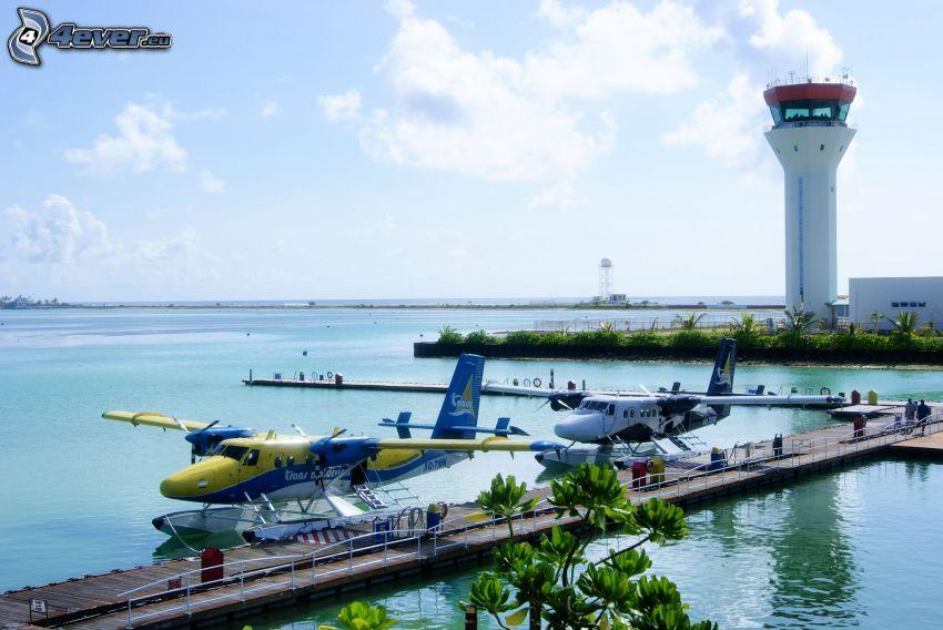 lietadlá, more, maják