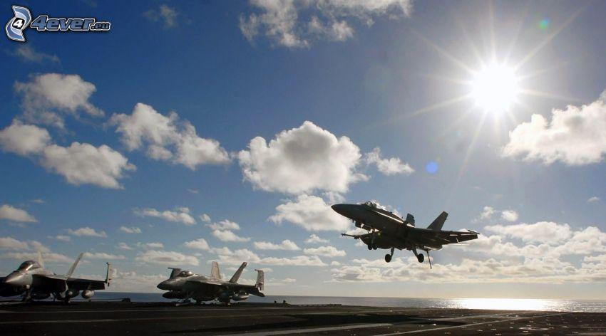 lietadlá, vzlet, štartovacia dráha, slnko