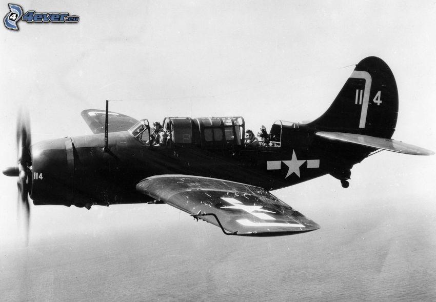 lietadlo, čiernobiela fotka