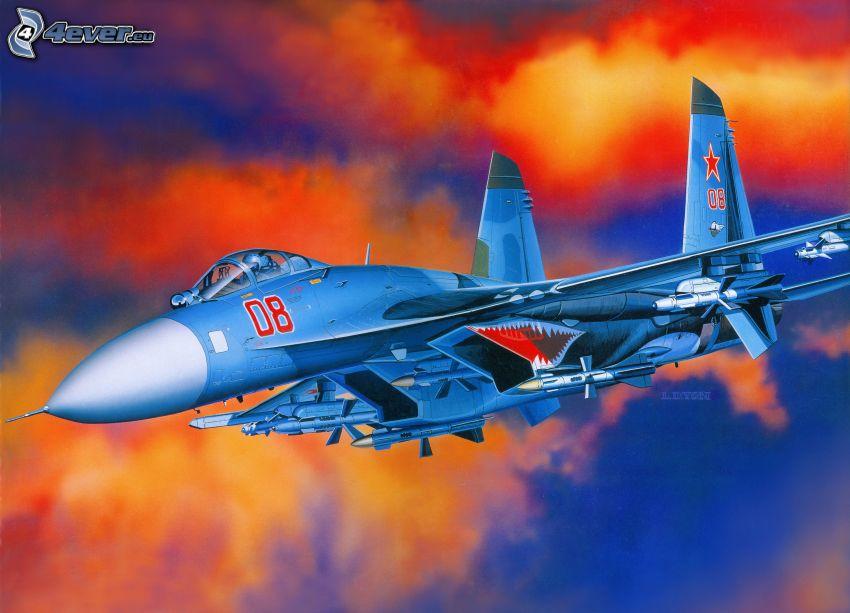 F-15 Eagle, oranžové oblaky, kreslené