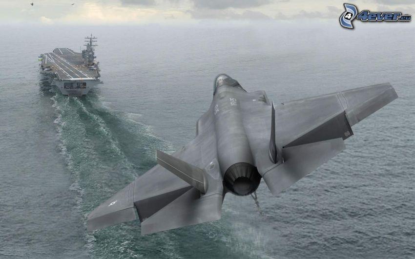 F-35 Lightning II, lietadlová loď, more