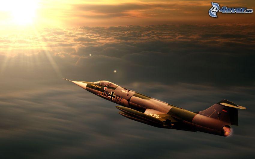 Lockheed F-104 Starfighter, západ slnka nad oblakmi