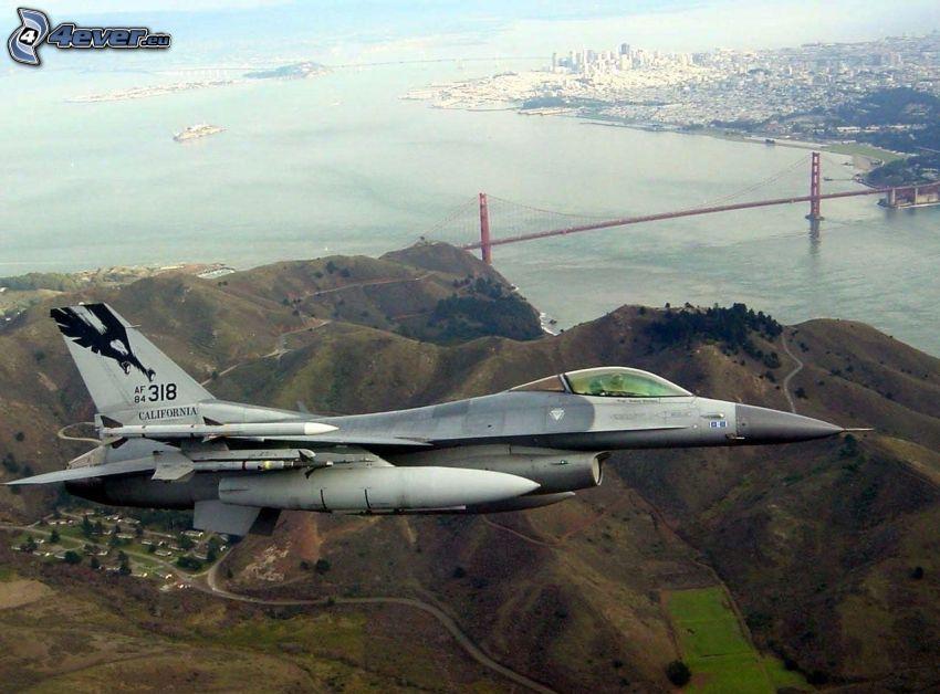 stíhačka, San Francisco, výhľad na mesto