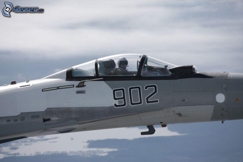 Sukhoi Su-35, kokpit, pilot v stíhačke