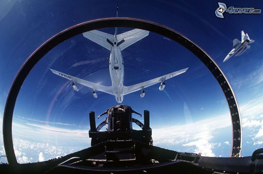 vzdušné tankovanie, Boeing KC-135 Stratotanker, F-15 Eagle, kokpit, USAF