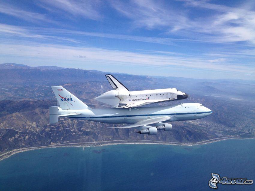 transport raketoplánu, lietadlo, vesmírna loď, more, Zem, obloha