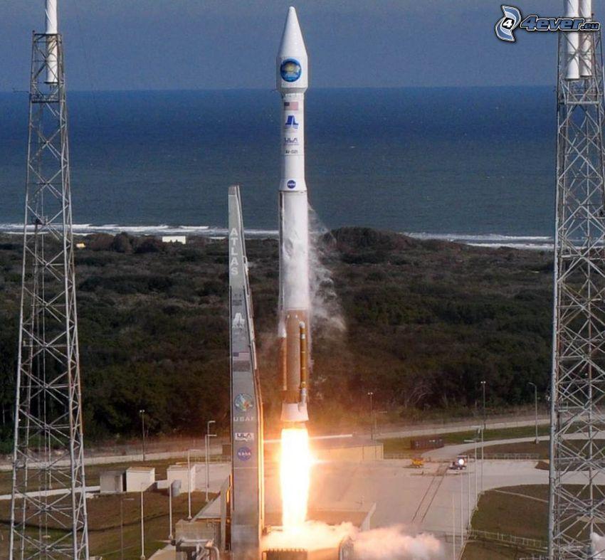 Atlas V, štart rakety, šíre more