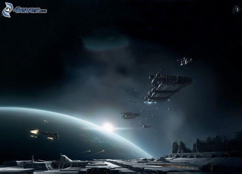 vesmírna loď, planéta