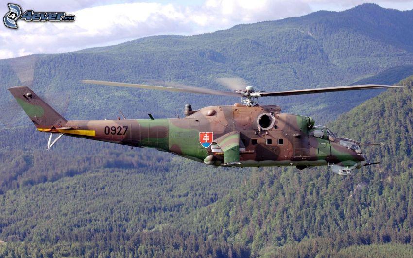 vojenský vrtuľník, kopce