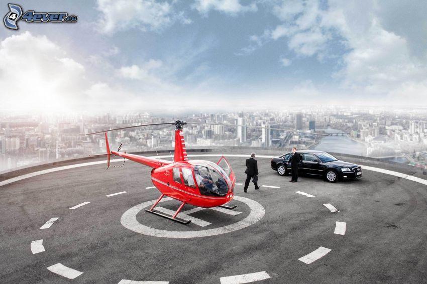 vrtuľník, auto, muži v oblekoch