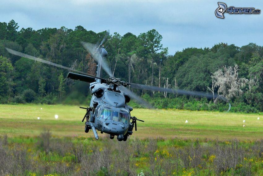 vrtuľník, pristávanie