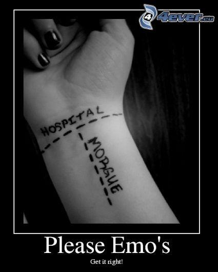 emo, zápästie, smrť