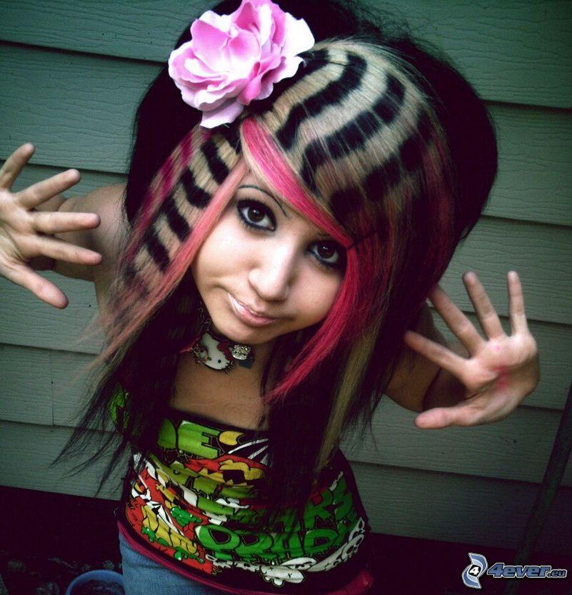 emo dievča, fialová ruža, Hello Kitty