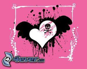 emo srdce, lebka, krídlo, smrtka, rám, koláž