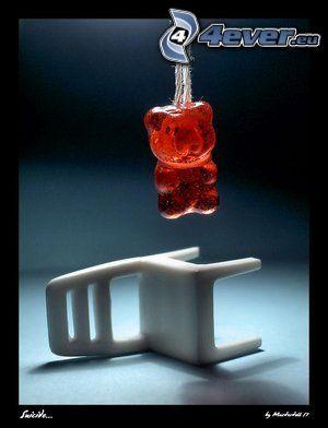 obesenec, macko, gumené medvedíky, smrť, stolička