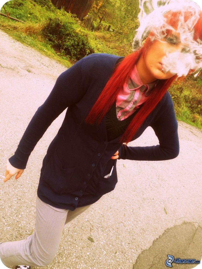 fajčenie, dievča, dym, cigareta, červené vlasy